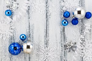 Christmas blue & silver decorations