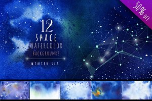 Watercolor  Space Backgrounds