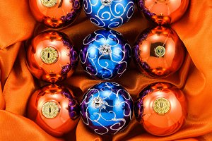 Orange and blue Christmas tree balls