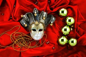Gold and red New year luxury decor