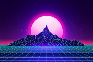 Vaporwave Mountains Landscape Pre Designed Illustrator Graphics Creative Market