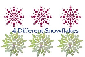 12 Snowflakes with artistic textures