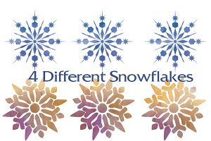 12 Snowflakes watercolor textures