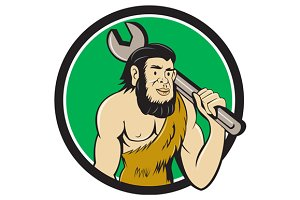 Neanderthal CaveMan With Spanner Cir