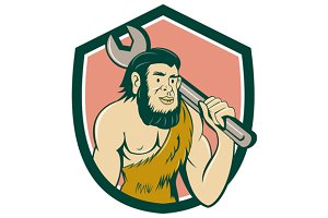 Neanderthal CaveMan With Spanner Cre