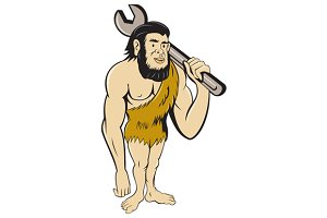 Neanderthal CaveMan With Spanner Car