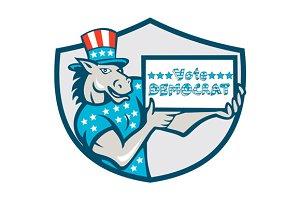 Vote Democrat Donkey Mascot Shield C