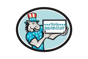 Vote Democrat Donkey Mascot Oval Car