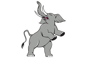 Elephant Prancing Isolated Cartoon