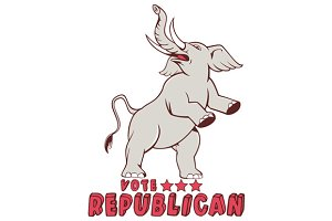 Vote Republican Elephant Mascot Cart