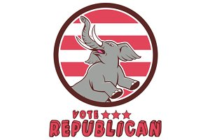 Vote Republican Elephant Mascot Circ