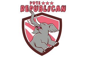 Vote Republican Elephant Mascot Shie