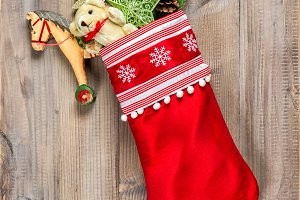 Christmas stocking with vintage toys