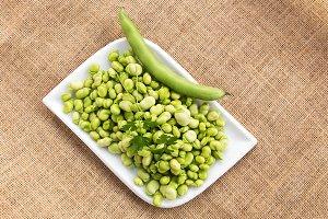 Fresh beans on sackcloth