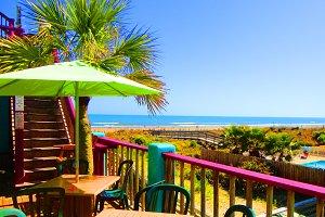 Ocean View with Green Umbrella