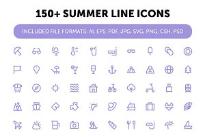 150+ Summer Line Icons