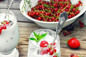 milk cocktail with berries