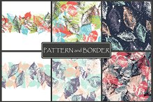 Forest leafs.Seamless border+pattern