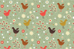 "Seamless patten ""Spring birds"""