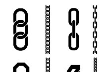 Chain parts vector icons and pattern