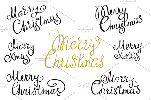 Set of Merry Christmas handmade ~ Symbol Fonts ~ Creative Market