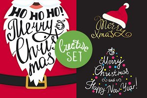 Merry Christmas inscriptions set