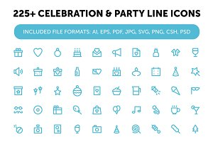 225+ Celebration & Party Line Icons