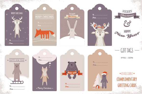 9d5d38dffe0b8 Cute Holiday Gift Tags ~ Graphics ~ Creative Market
