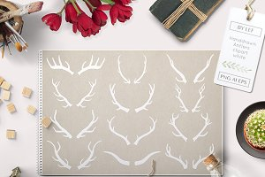 Vector Antlers and Photoshop Brushes
