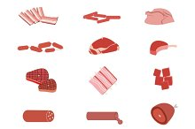 Meat products isolated