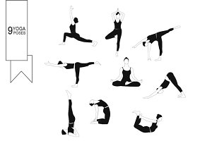 Set of women poses yoga