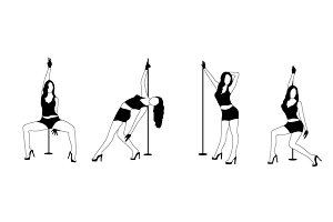 Set of silhouette dancing girl strip