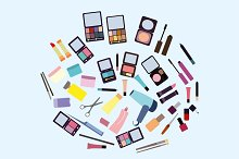 Cosmetic products clip art set