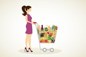 Girl with shopping cart full of groc