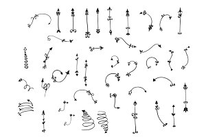 Hand drawn vector arrows collection