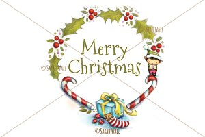 Merry Christmas Wreath Illustration