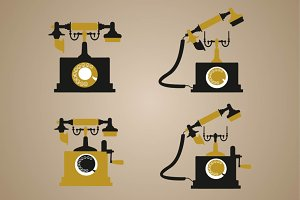 Retro phone clip art set