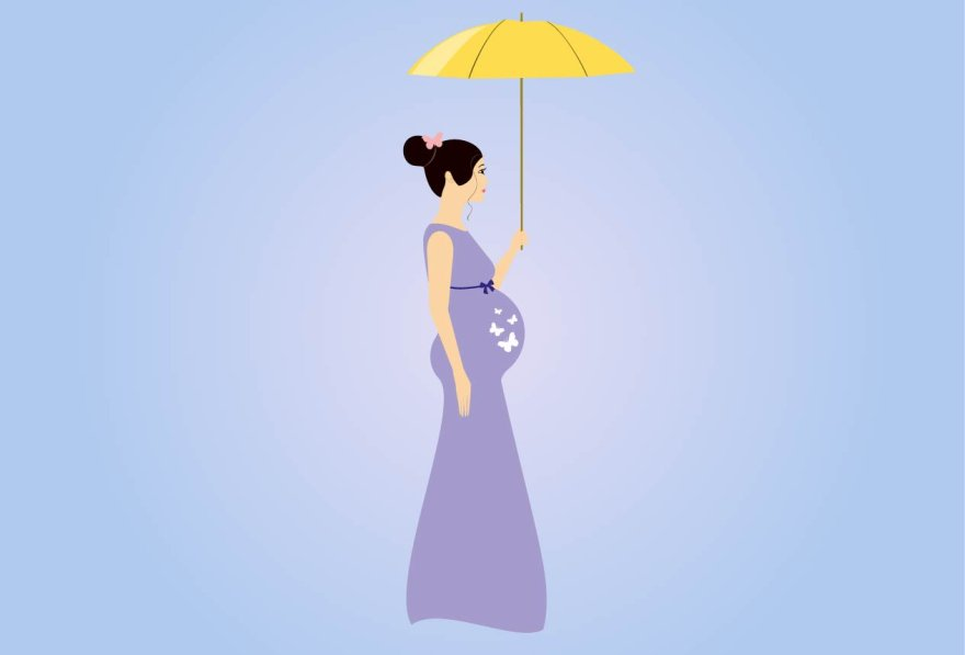Pregnant Woman With Umbrella Illustrations Creative Market