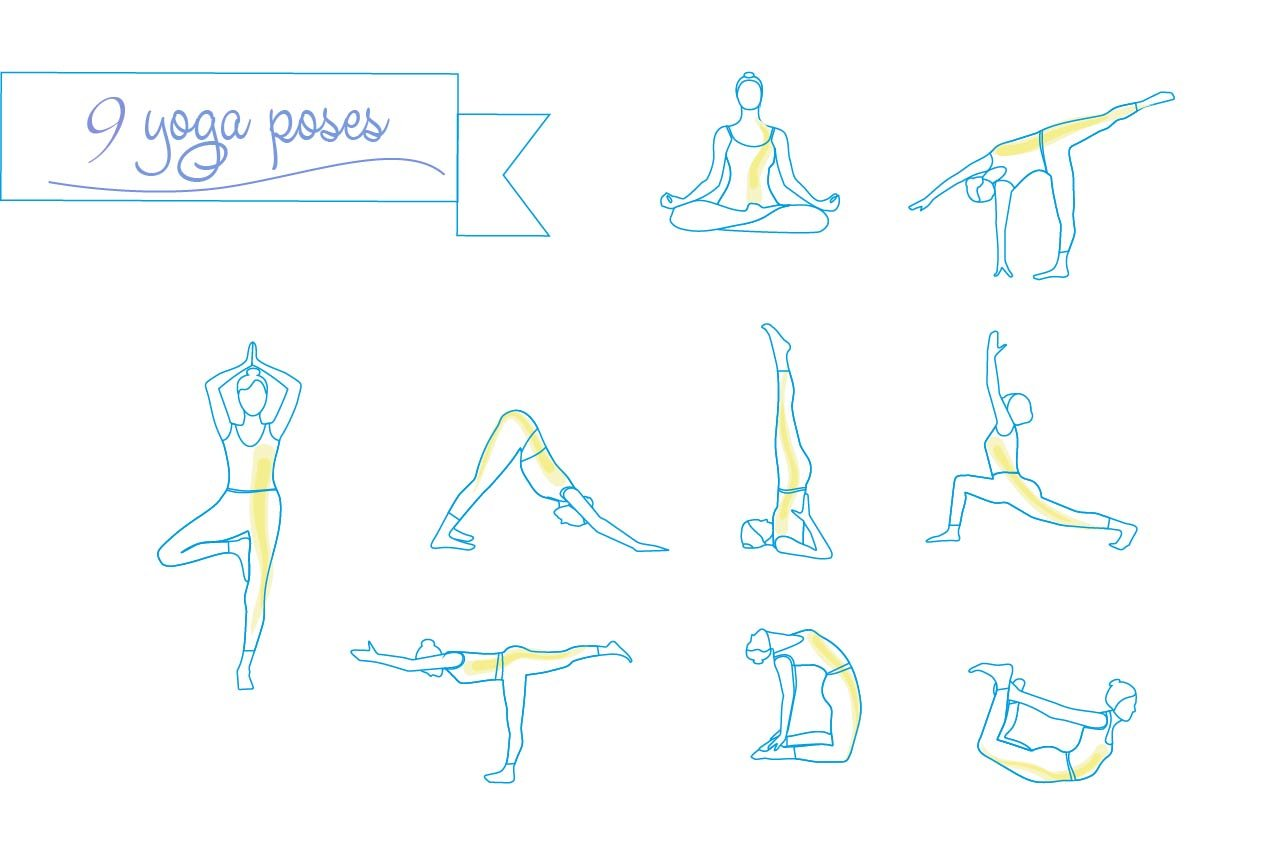 Yoga Linear Poses Silhouette Icons Creative Market