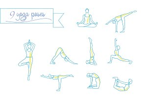 Yoga linear poses silhouette
