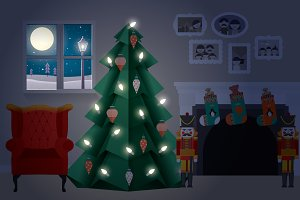 christmas tree at home vector