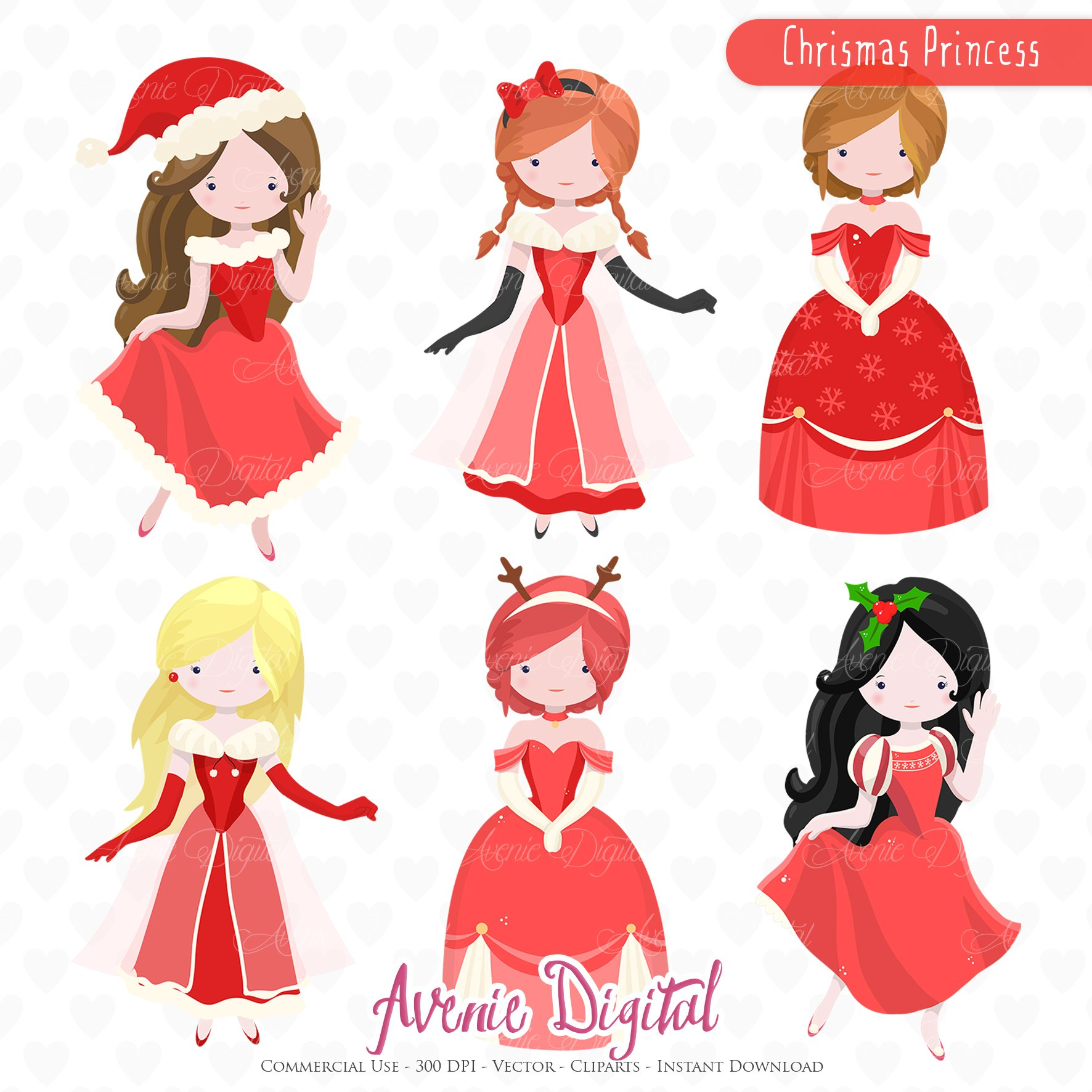 Christmas Princess Clipart - Vectors ~ Illustrations on Creative ...
