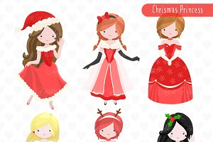Christmas Princess Clipart - Vectors