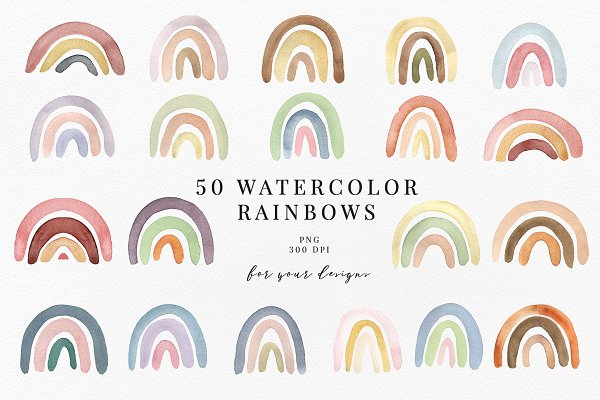 50 WATERCOLOR RAINBOWS