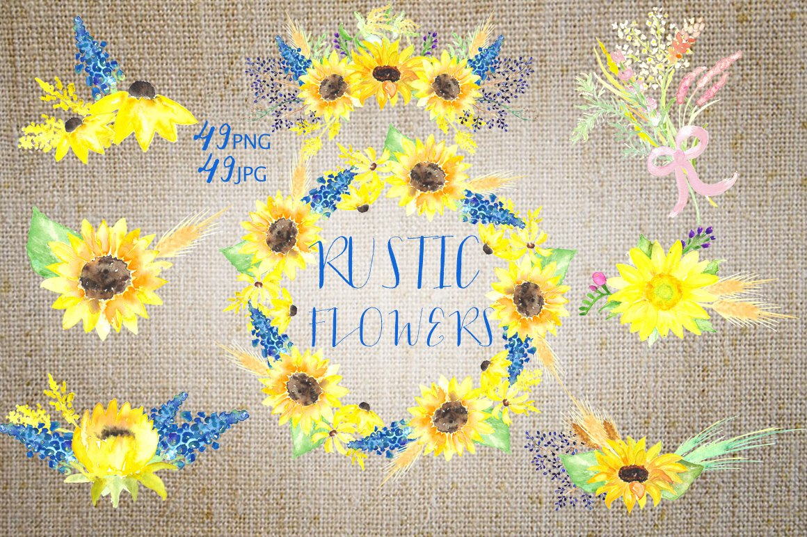 Rustic Sunflowers Watercolor Clipart Illustrations Creative Market