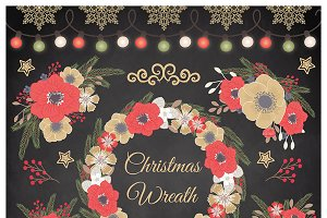 Vector rustic floral christmas