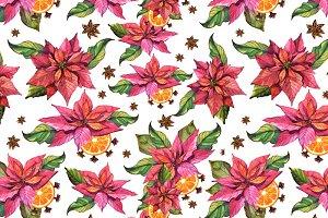 Poinsettia Flower Seamless Pattern