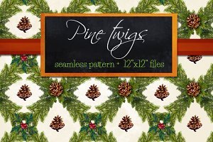 Pine Twigs seamless Christma pattern