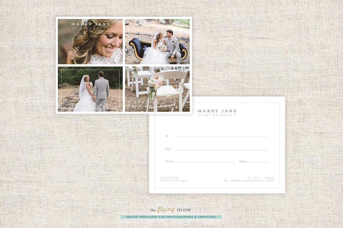 Wedding Photography Gift Certificate Card Templates Creative Market