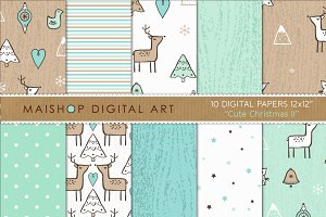Digital Paper - Cute Christmas II